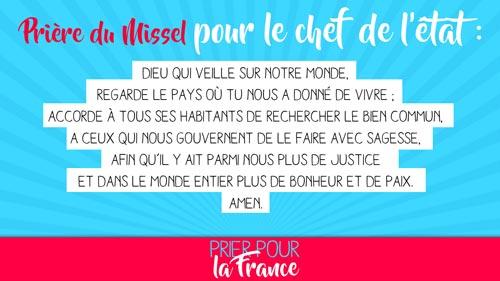 Prière du Missel pour le chef de l'Etat - Neuvaine Prier pour la France